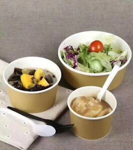 250pcs 260ml Greaseproof Paper Cups/Bowls Dessert Takeaway Soup Meal