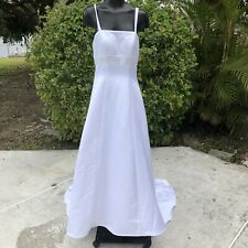 Michaelangelo White Wedding Dress Size XS-S Sleeveless A-Line Beading Embroidery