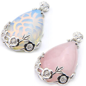2PC Lot Flower Base Waterdrop Cut Pink Agate Moonstone Silver Women Pendants