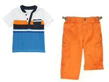 Gymboree Stripes in Space Striped Henley Shirt Roll Up Pants Set Boys 3T NEW NWT