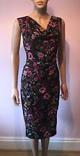 Fever London black floral wiggle/pencil DRESS 14 BNWT purple pink green flowers