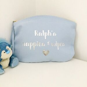 Personalised Nappy And Wipes Bag Pouch - Baby Shower Gift - Organic Baby Gift
