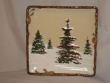 "NEW  St. Nicholas Square ""Snow Valley"" Pattern 10 1/2"" Square Dinner Plate"