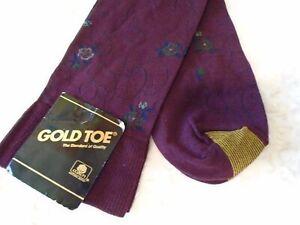 NWT Vintage Gold Toe cotton blend Burgundy floral mens socks shoe size 6.5-12