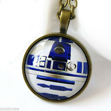 Retro Style Star Wars R2D2 Necklace Glass Cabochon Pendant