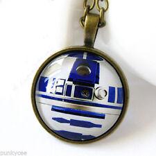 Retro Style Star Wars R2D2 Necklace Glass Cabochon Pendant