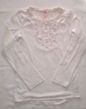 Girls Next Cream Long Sleeved T-shirt Top With Flower & Sequin Trim Size 9 Years