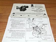 Vintage TECUMSEH  VINTAGE MINIBIKE GO KART ENGINE  MANUAL 6 PAGES H35 , HS40