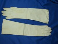 CARESS Real Kid VINTAGE GLOVES BY SUPERB White Washable Leather LONG STYLE sz 7
