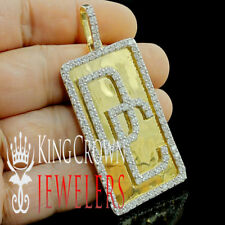 Real 10K Yellow Gold On Silver Dog Tag Charm Dream Chasers Simu Diamond Pendant