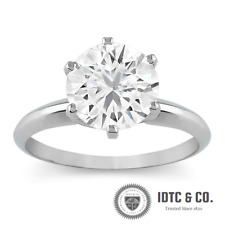 2 Carat Round Cut D VS2 Diamond Solitaire Engagement Ring 14k White Gold
