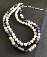 Signed Premier designs Necklace Silver Purple Glass Crystal 2 strand beaded