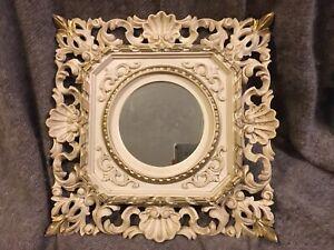 EuroMarchi Hollywood Regency Italian Florentine Wall Mirror Gold Resin 14 X 14