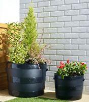 BLACK PLASTIC PLANTER PLANT POT TUB GARDEN PATIO OUT OR INDOOR BLACKSMITH BARREL