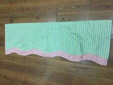 "WAVERLY HOME VALANCE GREEN PINK STRIPE POLKA DOTS SCALLOP DOUBLE LOOK 53"" X 17"""