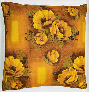 Vintage 50s chair cushion orange brown floral woven fabric 50cm2 mid-century