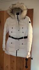 Womens MK Michael Kors White Black Fur Hood Parka coat jacket Large L approx 14