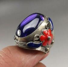 China old purple cubic zirconia Tibet Silver Cloisonne FLOWER adjustable Ring S0