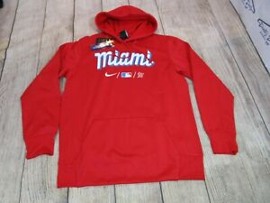 NEW Nike Therma City Connect Miami Marlins Red Blue Hoodie Sweatshirt Large