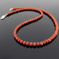 Men's Women Red Jasper Stone 925 Sterling Silver Necklace 4mm Beads DIYKAREN 148