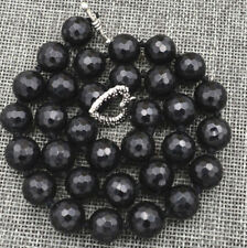 """Faceted 12mm Black Agate Onyx Round Gemstone Beads Necklace 18"""" JN1837"""