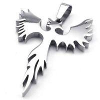 2X(Schmuck Edelstahl Phoenix Feuervogel Anhaenger mit 60cm Kette, Halskette f 2X