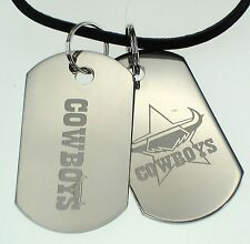 NORTH QLD COWBOYS NRL LOGO MENS DOUBLE DOG TAG S/S LEATHER NECKLACE JEWELLERY