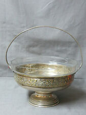 COUPE A FRUITS A ANSE EN METAL ARGENTE ET CRISTAL TAILLE ART DECO