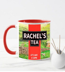 *FREE POSTAGE PERSONALISED YORKSHIRE TEA LET'S HAVE A CUPPA COFFEE MUG RED CUP