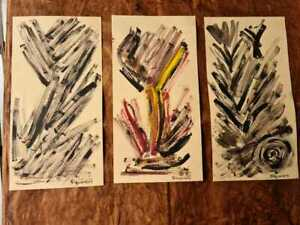 3 Paintings (flowers) by the painter David Alfaro Siqueiros