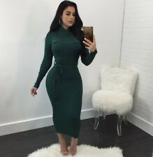 Women Fall And Winter Long Sleeve Bodycon Belt Knitted Clubwear Cocktail Dress