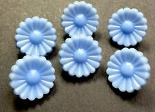 6 Charming Baby Blue Vintage Flower Buttons - 1.5cm wide