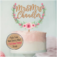 PERSONALISED Wedding Cake Toppers Wooden Rustic Mr & Mrs Custom Cake Decorations