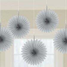 5 Silver paper fans hanging decorations Silver 25th Anniversary Party Decoration