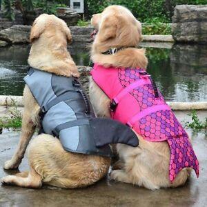 Dog Life Jacket Shark Small Medium Large Xl Vest Collar Safety Harness Saver