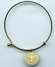 Gold Plated Vintage Script P Initial Charm Wire Bangle Bracelet With Clasp