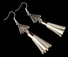 1 Pair of Antique Tibetan Style Dangle Earrings with Silver Suede Tassels #1000