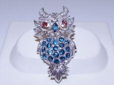 GENUINE! 3.64tcw London Blue Topaz & Garnet Owl Brooch Solid S/Silver 925.