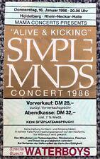Concert Ticket Simple Minds 16.01.1986 Heidelberg Germany RARE