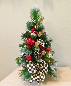 "MacKenzie-Childs Inspired 18"" Topiary. Cordless light, Cute Christmas Topiary."