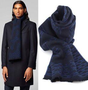 HUGO BOSS Men's SCARF Monogram Reversible Axel Wool Blend Italian Made Navy Blue