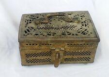 Vintage Collectible Bronze Metal Box Carving Design Handmade Vintage Piece Box