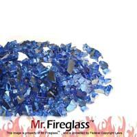"""Mr. Fireglass 1/4"""" Reflective Fire Glass Fireplace Fire Pit 10 lb Cobalt Blue"""