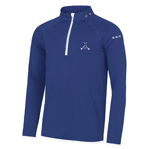Golf God Clothing Crossed Clubs 1/4 Zip Royal Pullover - Golf Top - Golf Jumper
