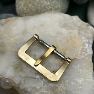 """rare 1930s-1940s 16mm Flat Yellow Gold-Tone 5/8"""" nos Vintage Watch Band Buckle"""
