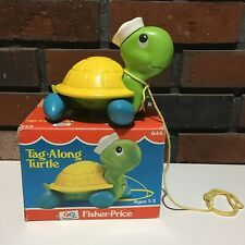 Vintage Fisher Price Tag Along Turtle Pull Toy #644 - 1977