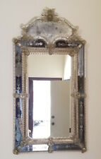 "EXCEPTIONAL ANTIQUE VENETIAN MIRROR with ETCHED GLASS ~ 25.5""x51"""