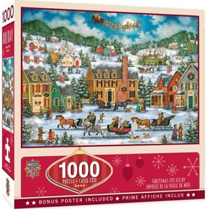 Christmas Eve Fly By 1000 Piece Jigsaw Puzzle Santa Claus Sleigh Village