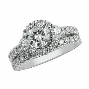 2.00 Ct Diamond Wedding Band Sets 14K White Gold Engagement Rings Size N M J O P