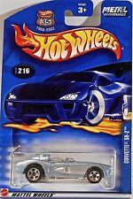 Hot Wheels 216 Corvette SR-2 METAL Collection, Convertible, 2002 Car & Card Mint